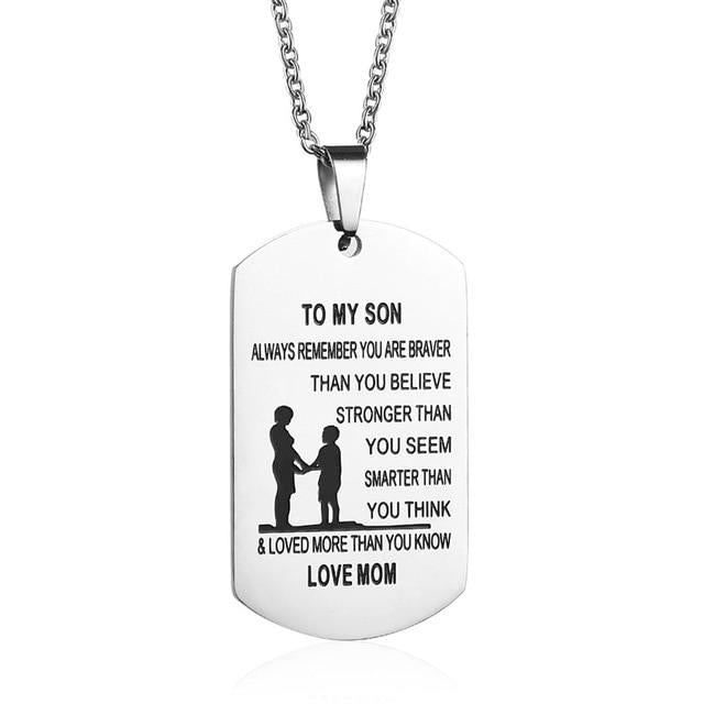 mom to son necklace, mother son necklace, mother and son necklace, mom and son necklace