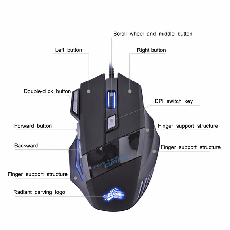 H7 Wired Gaming Mouse 7 Buttons
