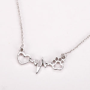 Paw Heartbeat Necklace dog necklace, dog chain necklace, dog paw necklace
