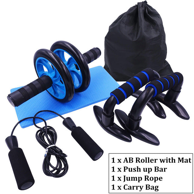 AB Roller Kit - Push Up Bars - Adjustable Skipping Jump Rope | Home Workout Set