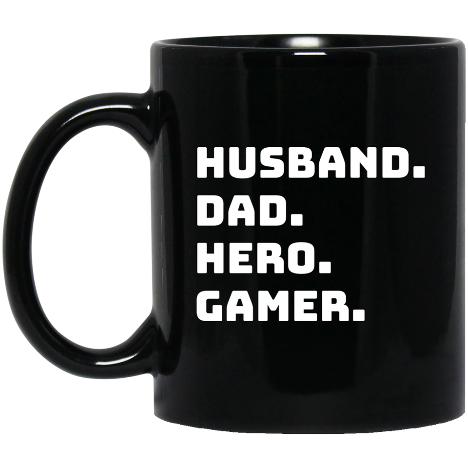 Husband Dad Hero Gamer 11 oz. Black Mug