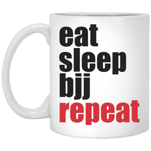 Brazilian Jiu Jitsu Eat Sleep BJJ Repeat 11 oz. White Mug Brazilian Jiu-Jitsu BJJ Brazilian Jiu Jitsu Coffee Mug
