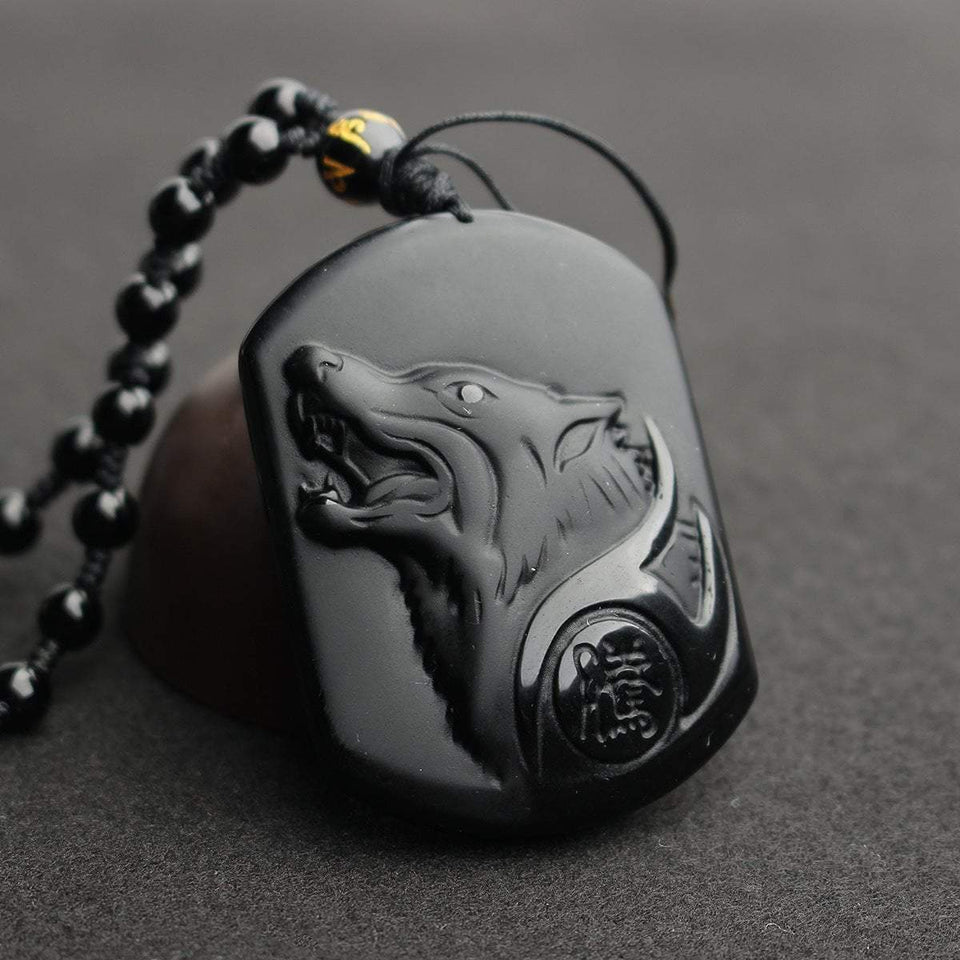 wolf necklace, wolf pendant