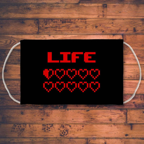 Gaming Life Bar / Game Hearts Sublimation Face Mask