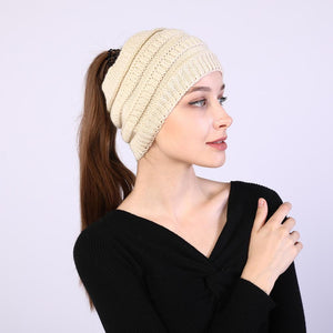 Winter Knitted Ponytail Beanies ponytail beanie, cc ponytail beanie, beanie with ponytail hole