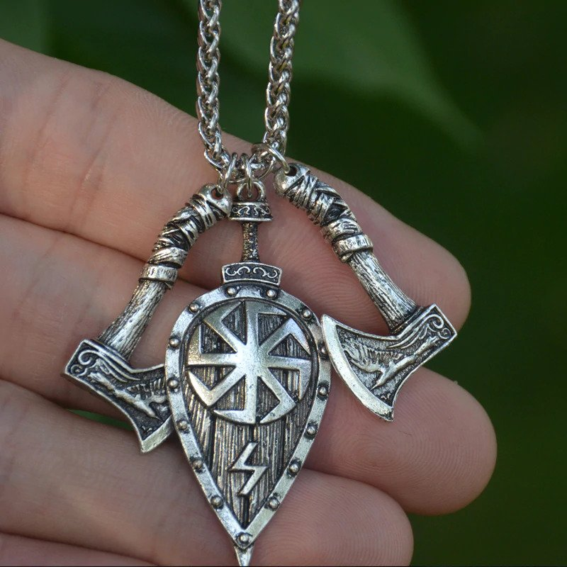 Axe & Shield Pendant Necklace