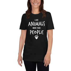 I Like Animals More Than People - Dogs & Cats Unisex T-Shirt animals shirt, animals t shirt, animals tshirt, dog shirt, dog t shirt, dog tshirt, cat shirt, cat t shirt, cat tshirt