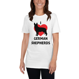 I Love German Shepards Unisex T-Shirt german shepherd shirt, german shepherd tshirt, german shepherd t shirt