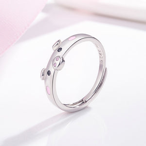 Lucky Piggy Ring silver pig ring