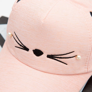 Lovely Cat Embroidery Cap For Kids Lovely Cat Embroidery Cap For Kids