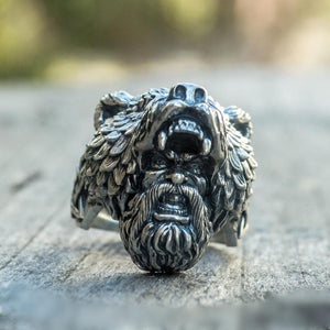Viking Bear Warrior Stainless Steel Ring viking ring viking wedding rings mens viking rings norse rings nordic rings