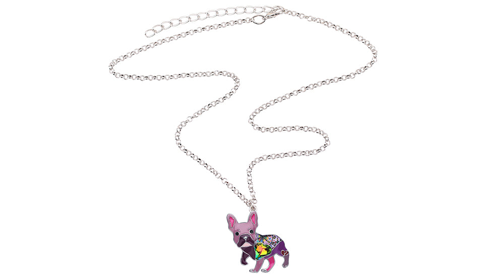 Frenchie French Bulldog Enamel Necklace