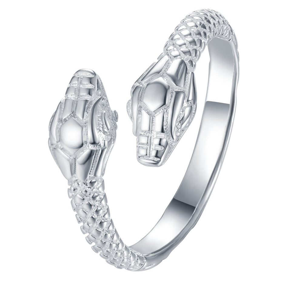 Adjustable Silver Plated Snake Ring