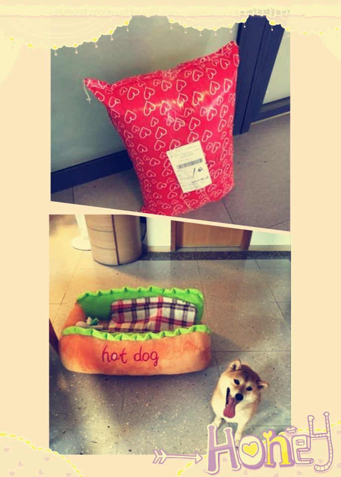 hot dog bed, hot dog dog bed, hot dog sofa, hot dog pet bed, hot dog bun dog bed