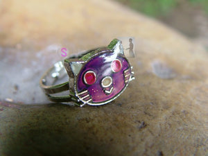 Cat Mood Color Changing Ring cat ring, silver cat ring, kitty ring