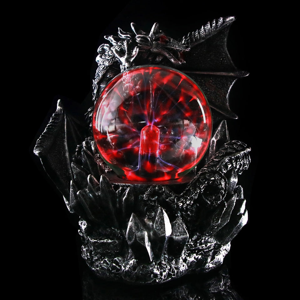 Fantasy Dark Dragon Plasma Ball Figurine