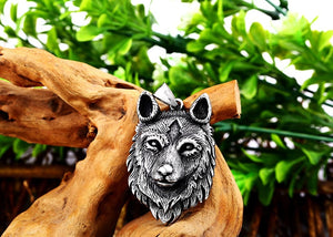 Guardian Wolf Head Viking Necklace wolf necklace