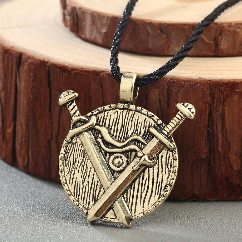 Double Sword & Shield Pendant Necklace