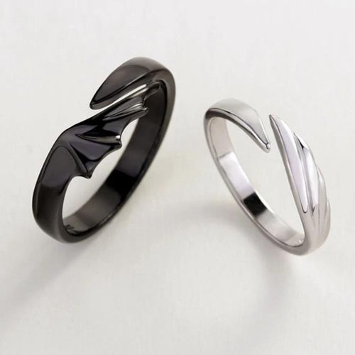 Angel & Devil Sterling Silver Divine Couple Rings