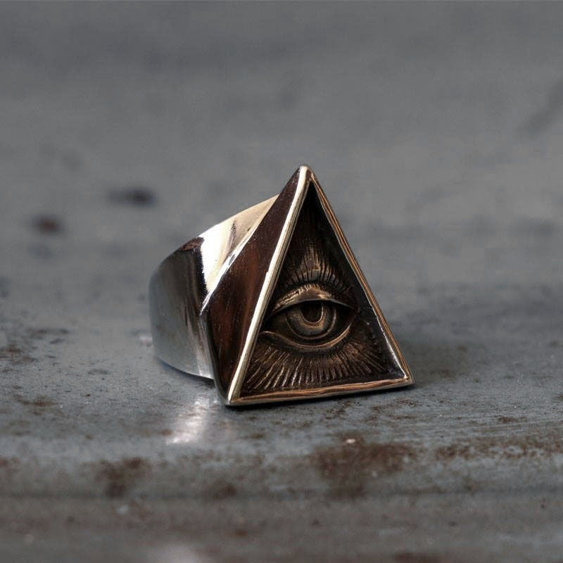 Eye of Providence Illuminati Silver 316L Stainless Steel Ring