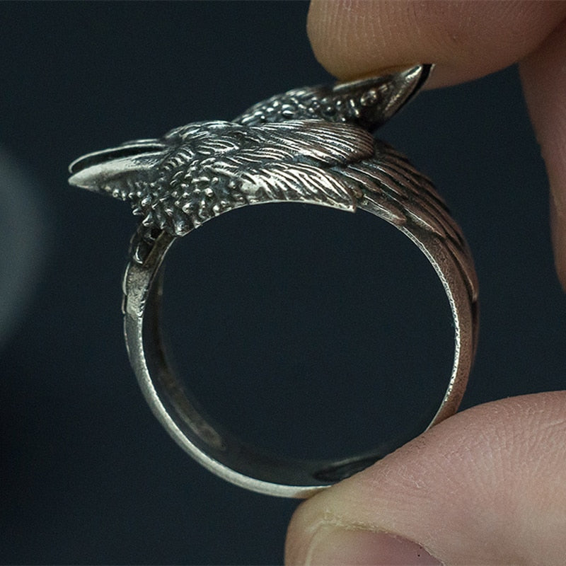 Odin's Two Entwined Ravens Ring