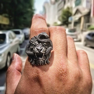 Lion and Snake Chimera Stainless Steel Ring