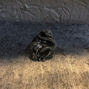 Lion and Snake Chimera Stainless Steel Ring Lion and Snake Chimera Stainless Steel Ring