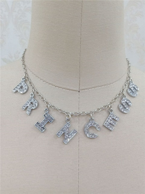 Princess Crystal Silver Choker Necklace