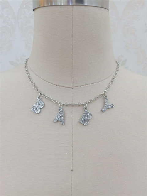 Baby Crystal Silver Choker Necklace