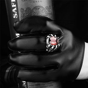 Dragon Claw Red Stone Ring dragon ring, mens dragon ring, dragon ring silver, dragon claw ring, dragon eye ring