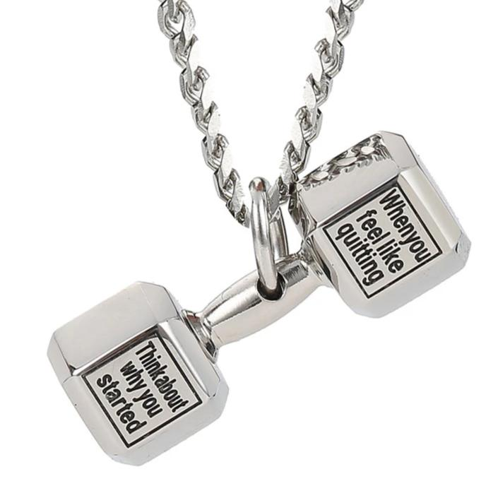 Motivational Dumbbell Gym Fitness Necklace