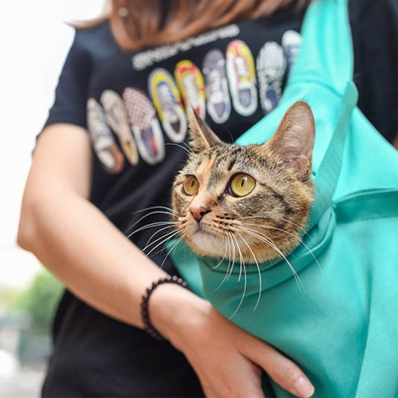 Cat Breathable Outdoor Travel Shoulder Bag Pouch