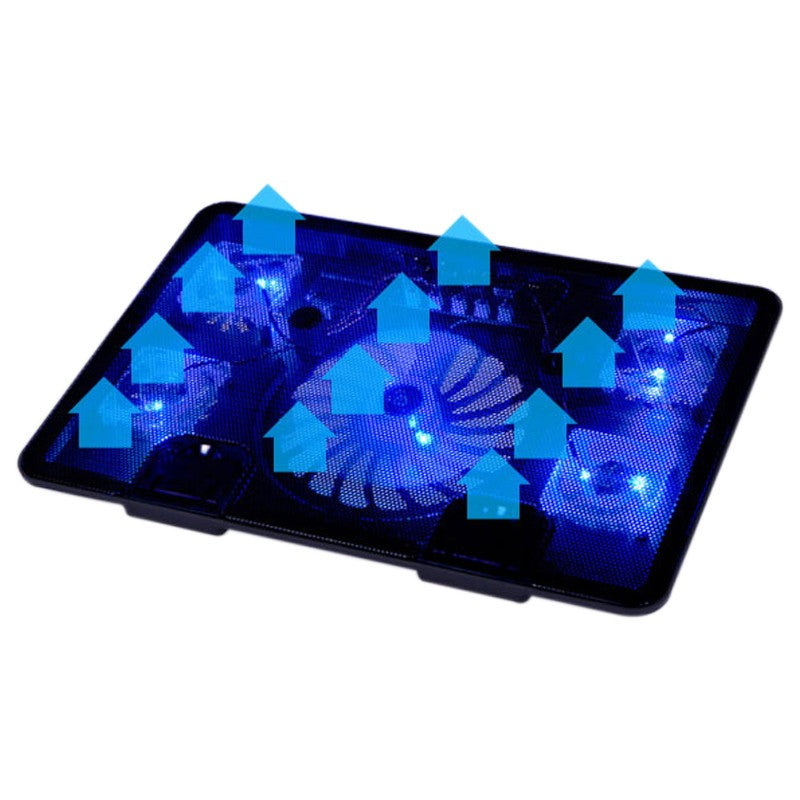 Adjustable 5 Fan Laptop Cooler Cooling Stand Pad Blue LED With USB Port For 10 inch - 17 inch Laptops