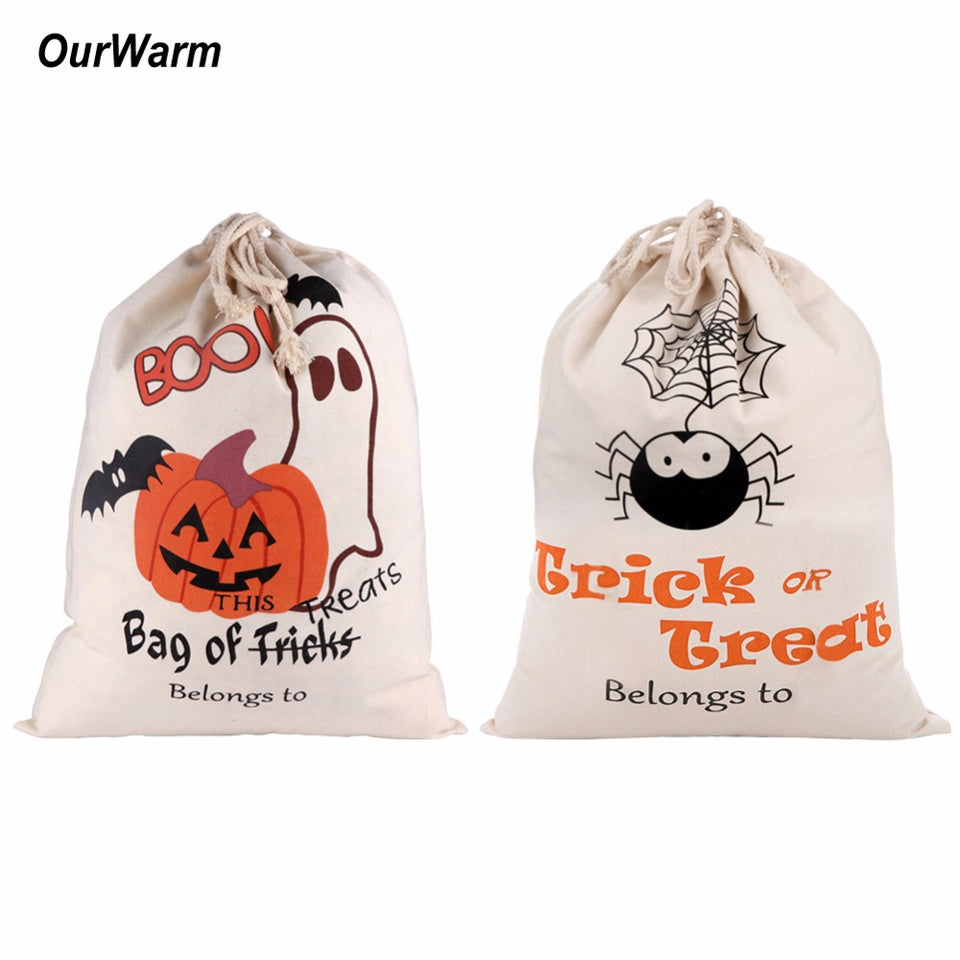 Halloween Cotton Canvas Trick or Treat Bags Halloween Decoration