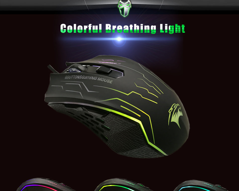 FORKA Silent Click USB Wired Gaming Mouse 6 Buttons 3200DPI