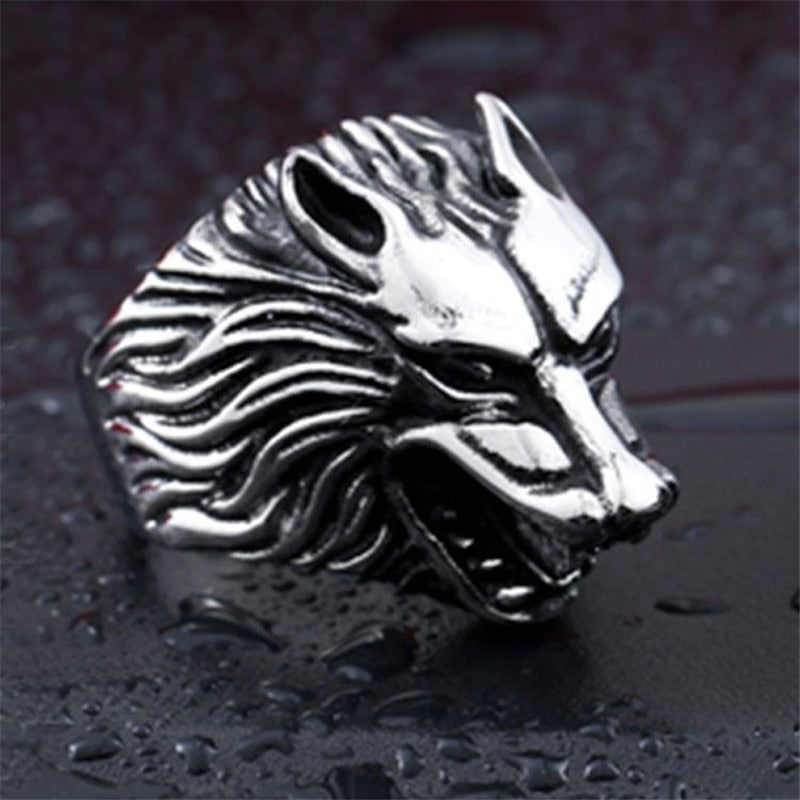Stainless Steel Wolf Head Ring