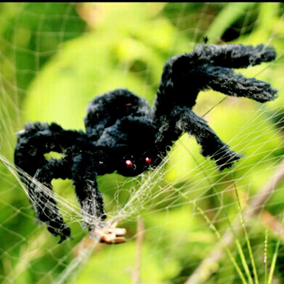 Halloween Horrible Big Black Furry Spider Trick Or Treat Halloween Decoration