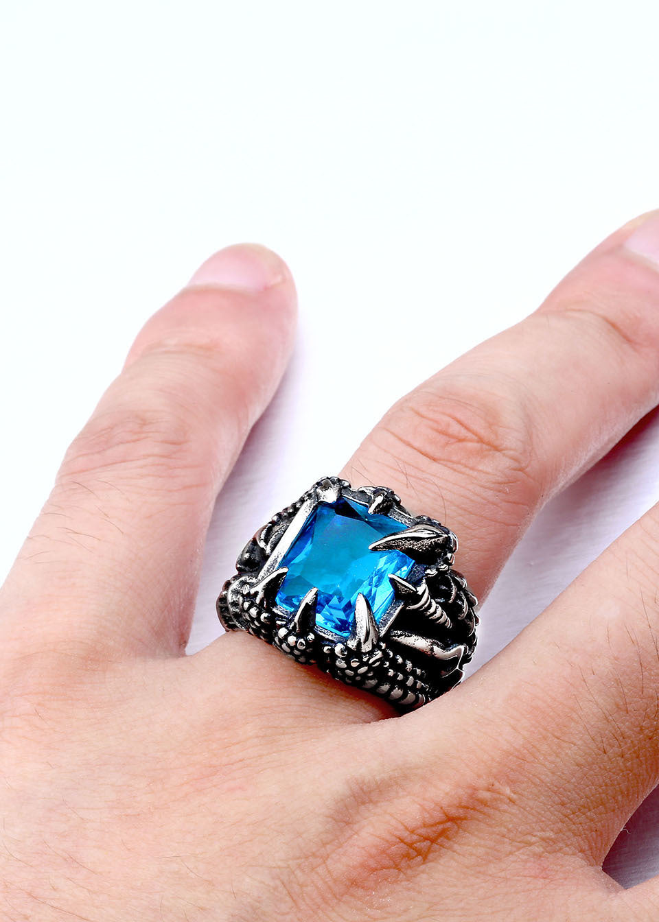 Dragon Claw Ring With Red/Blue/Black Stone - Superhero Gear