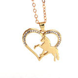 Running Horse Heart Necklace horse necklace