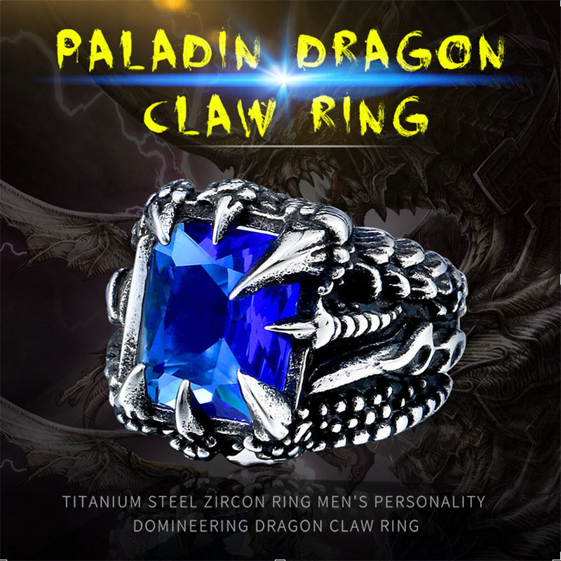 Dragon Claw Ring With Red/Blue/Black Stone