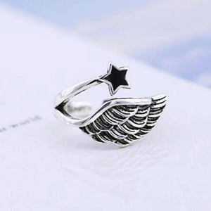Angel Wings Silver Adjustable Ring