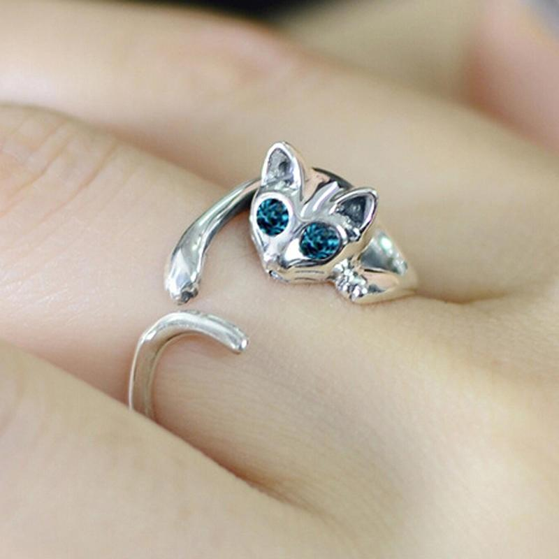 silver cat ring kitty ring cats eye ring