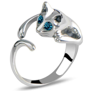 Blue Eyed Cat Ring silver cat ring kitty ring cats eye ring