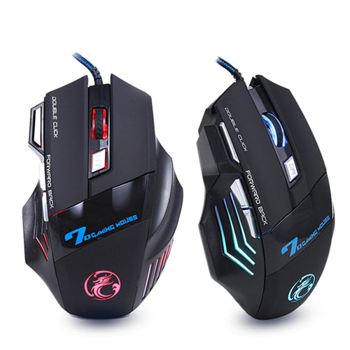 Estone X7 3200DPI LED Optical 7D USB Wired Gaming Mouse - BLACK
