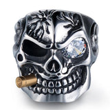 Gold Smoking Skull Ring skull rings for men skull ring skull rings for women