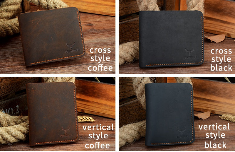 Crazy Horse Leather Mens Wallet