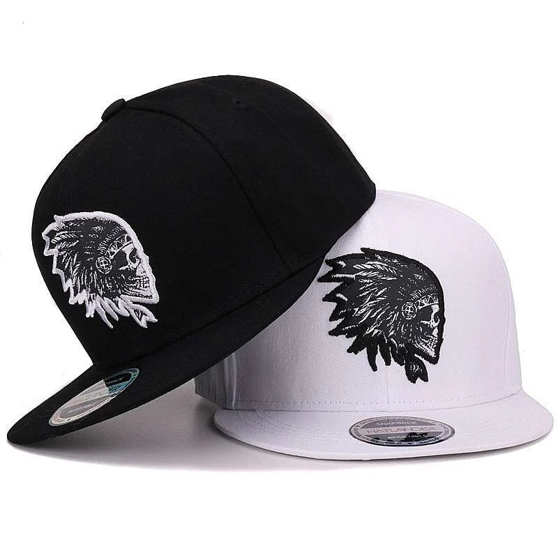 Embroidered Skull Snapback Hat