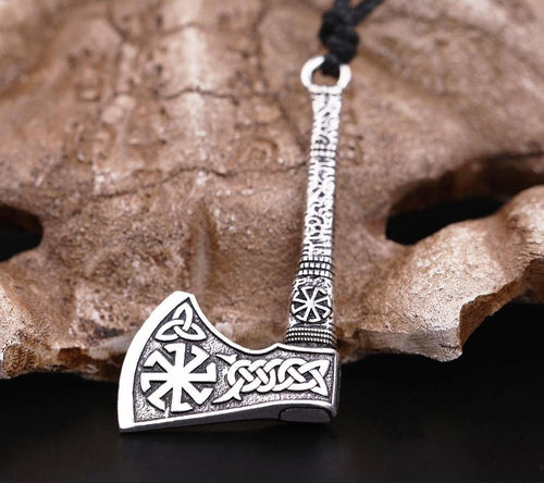 Antique Silver Plated Axe Necklace