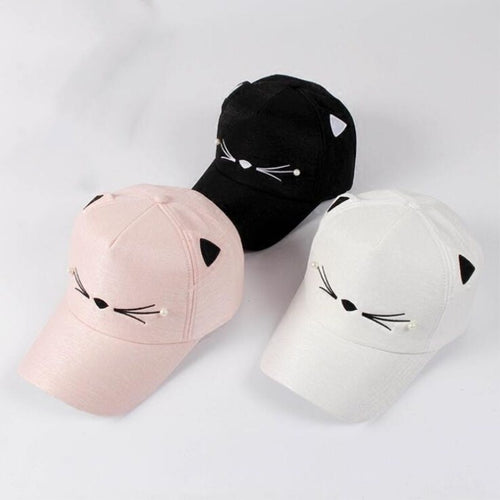 Lovely Cat Embroidery Cap For Kids