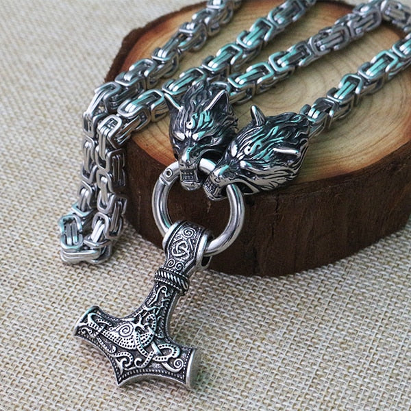 Stainless Steel Wolf Head Necklace Chain With Mjolnir